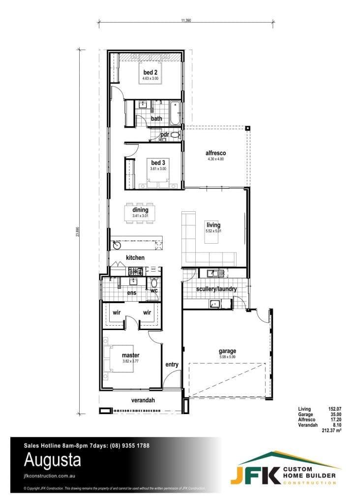 the augusta F1 floor plan